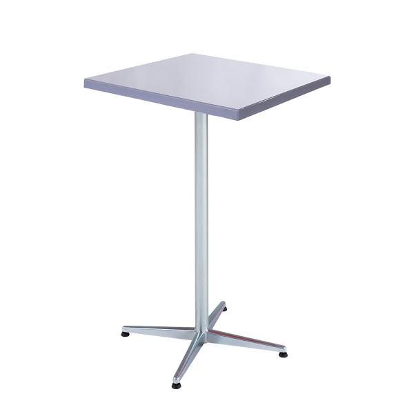 GFK Tisch silber, glanz, Untergestell galvanisch, 4-Stern Basic, 70 x 70 x 3.5 cm, H 109 cm