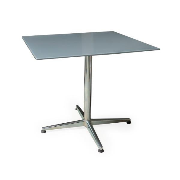 GFK Tisch fehgrau, glanz, elegance, Untergestell galvanisch, 4-Stern Basic, 80 x 80 x 0.9 cm, H 73 cm