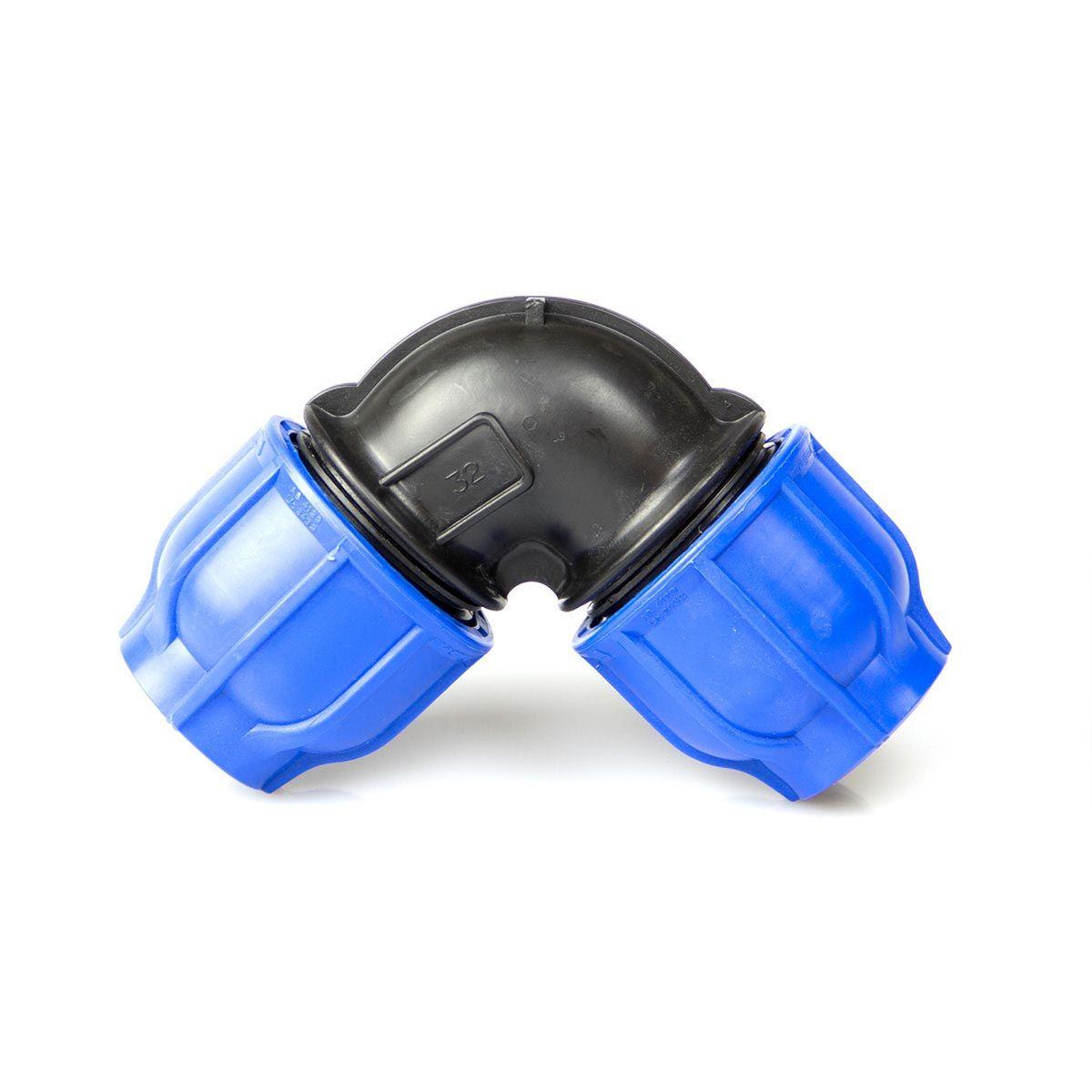 Winkel 90°, aus PP, blau-schwarz, d 20 mm, PN 16