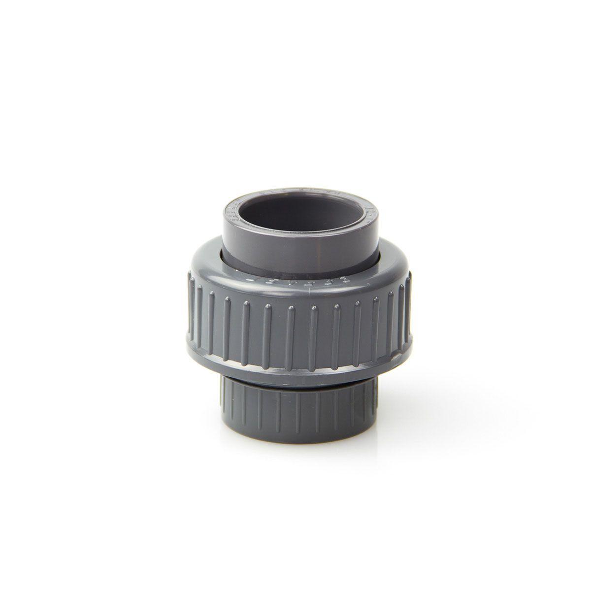 Verschraubung zum Kleben, aus PVC, grau, D 16 mm, PN 16