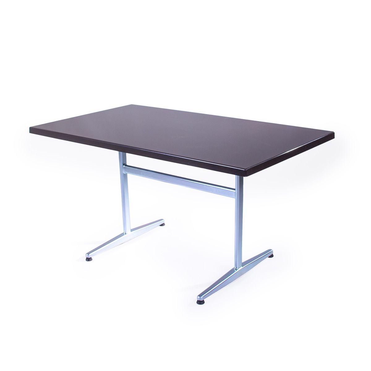 GFK Tisch dunkelbraun, glanz, Untergestell galvanisch, T-Gestell Basic, 140 x 80 x 3.5 cm, H 73 cm