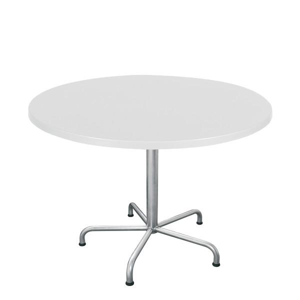 GFK Tisch weiss, glanz, Untergestell galvanisch, 5-Stern Retro, D 100 x 3.5 cm, H 73 cm