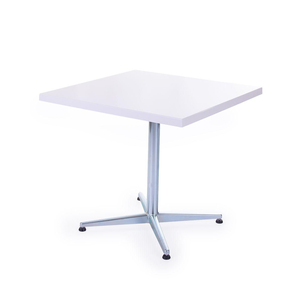 GFK Tisch weiss, glanz, Untergestell galvanisch, 4-Stern Basic, 80 x 80 x 3.5 cm, H 73 cm