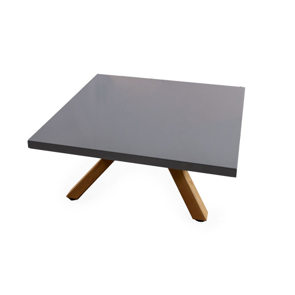 GFK Tisch platingrau, glanz, Untergestell Club Robinienholz, 80 x 80 x 3.5 cm, H 34 cm