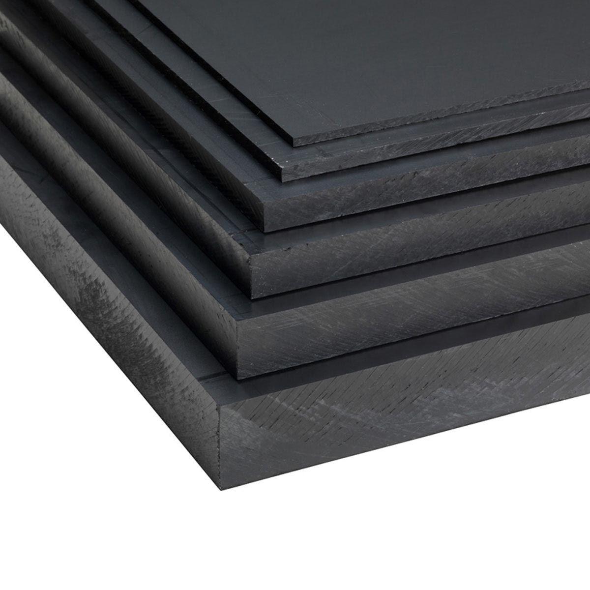 Plaques en PE, en PE, noir, 2000 x 1000 x 3 mm, PE 80, 2.91 kg/m2