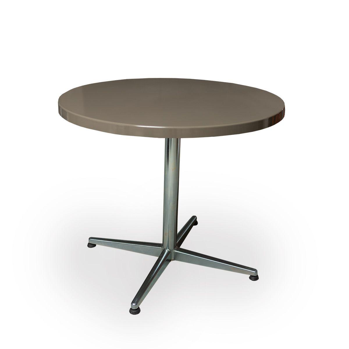 GFK Tisch beigegrau, glanz, Untergestell galvanisch, 4-Stern Basic, D 80 x 3.5 cm, H 73 cm