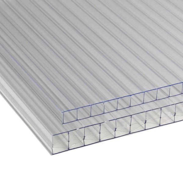 Plaque à double paroi, en PVC, transparente, 6000 x 2100 x 10 mm