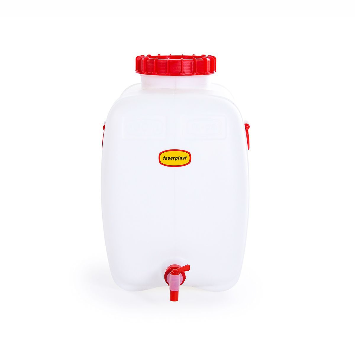 Getränkefass FAPA mit Auslaufhahn 22 mm, aus PE-HD, weiss-rot, 100 l, 590 x 415 x 659 mm