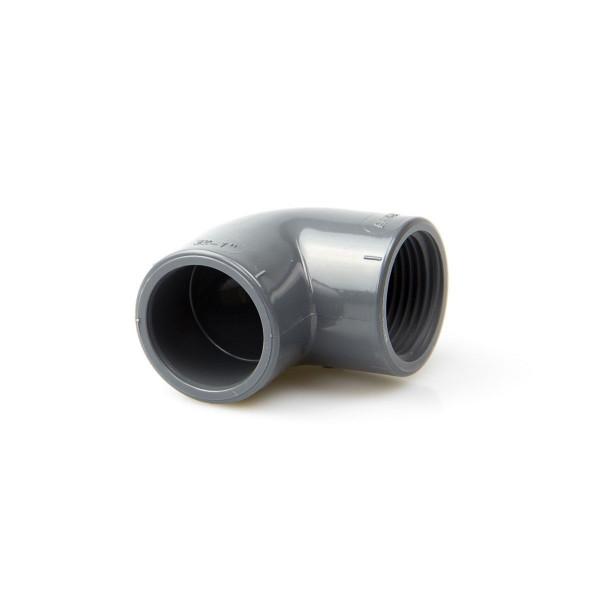 Winkel 90° Kleben/Gewinde, aus PVC, grau, d 16 mm, 3/8, PN 16