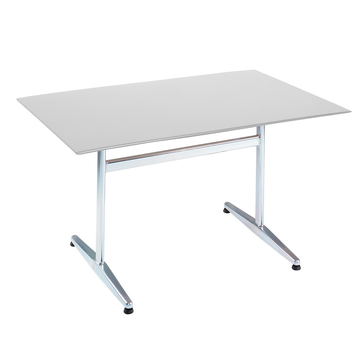 GFK Tisch lichtgrau, glanz, elegance, Untergestell galvanisch, T-Gestell Basic, 120 x 80 x 0.9 cm, H 73 cm