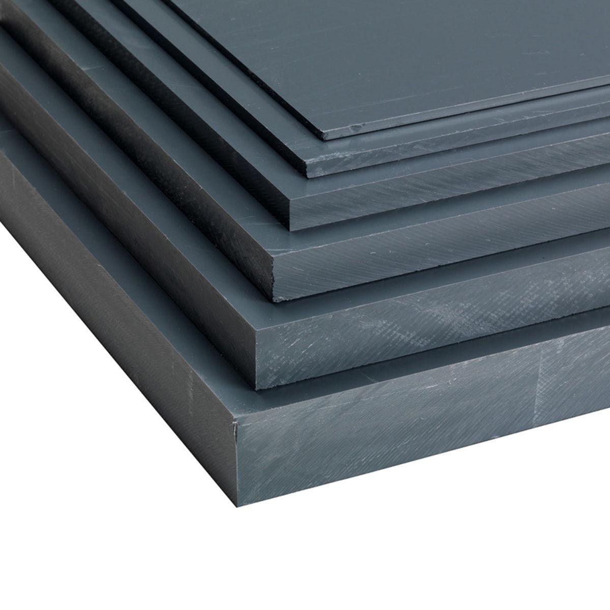 Plaque en PVC, en PVC-U, gris foncé, 2000 x 1000 x 3 mm, 4.32 kg/m2
