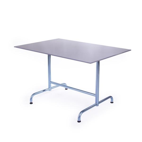 GFK Tisch platingrau, glanz, elegance, Untergestell galvanisch, T-Gestell Retro, 120 x 80 x 0.9 cm, H 73 cm