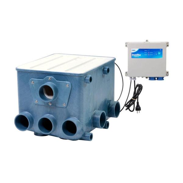 Aquaforte Trommelfilter ATF-1, inkl. weissem Deckel und Kontroller, max. 25 m3/h, 60 Micron, 5x DN 110