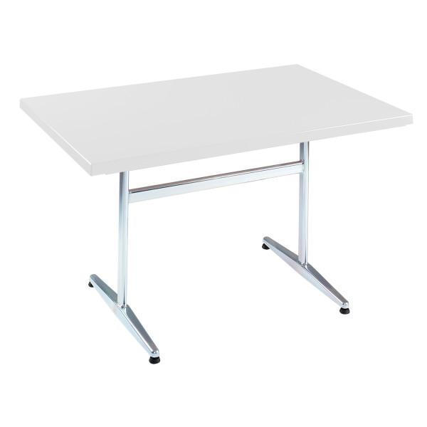 GFK Tisch weiss, glanz, Untergestell galvanisch, T-Gestell Basic, 120 x 80 x 3.5 cm, H 73 cm